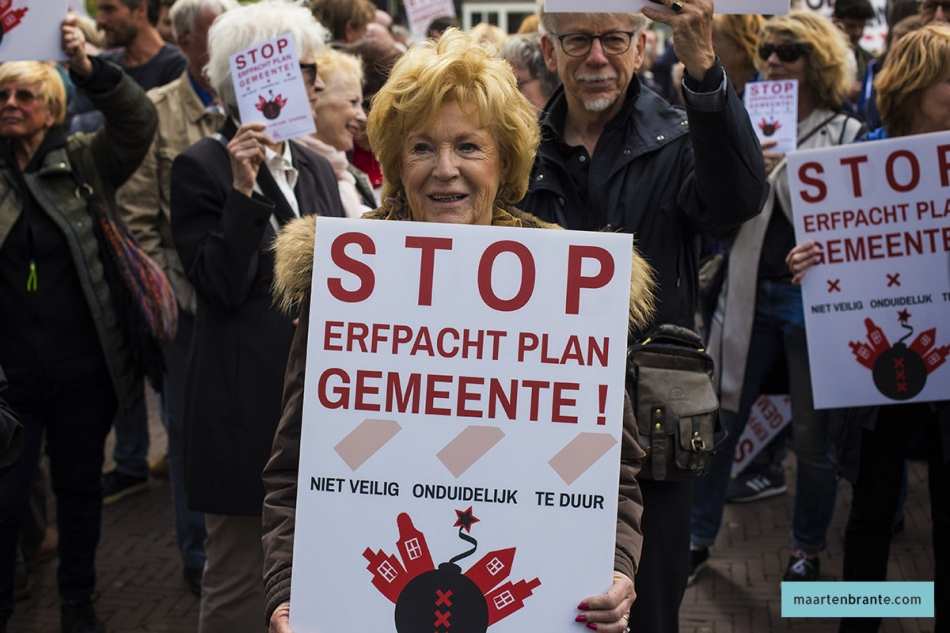 Protest tegen Erfpachtregeling Stopera 2017